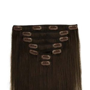 Clip In Extensions 60cm 160g 02 Dunkel Braun-0